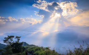 Picture clouds, rays, landscape, nature, beauty