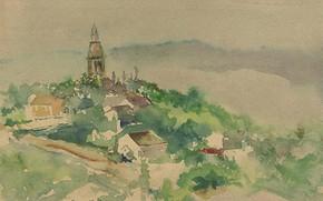 Picture figure, watercolor, 1892, Theodore Robinson, Village scene, Theodore Robinson