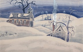 Picture 1918, Charles Ephraim Burchfield, Country School House in Winter