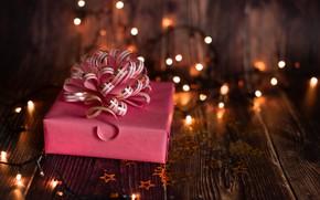 Picture background, holiday, gift, new year, lights, garland, Kseniya Wite