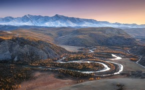 Wallpaper autumn, forest, the sky, mountains, river, hills, the slopes, tops, valley, haze, pond, snake, snow