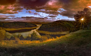 Picture forest, the sun, sunset, clouds, river, hills, view, slope, pond, Bank