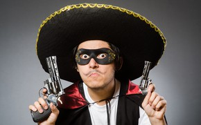 Picture look, pose, weapons, background, guns, hat, hands, mask, outfit, male, Mexican, revolvers, sambrero