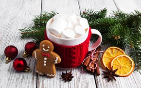 Picture decoration, New Year, Christmas, christmas, wood, cup, merry, cocoa, cookies, decoration, gingerbread, gingerbread, fir tree, …
