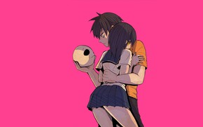 Picture anime, art, two, hugs, Bloody guy, Blood Lad