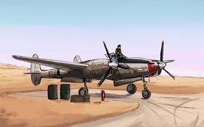 Picture USAF, art, desert, fighter, pilot, Lockheed, P-38 Lightning