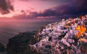 Picture sea, landscape, sunset, nature, the city, rocks, island, home, Santorini, Greece, OYA