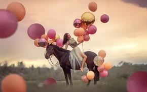 Picture girl, balls, horse, dress, Annie Of Antikov
