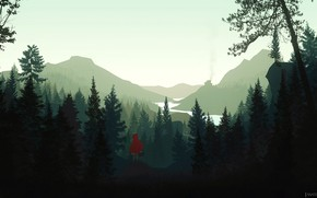 Picture Minimalism, The game, Trees, Forest, Style, Landscape, Art, Little Red Riding Hood, Forest, Characters, Firewatch, …