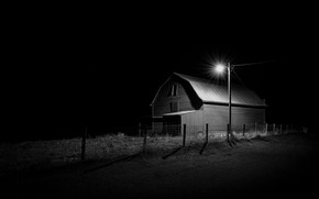 Picture light, night, house