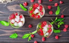 Picture raspberry, ice, fresh, beverage