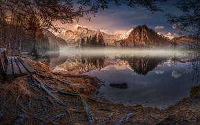 Picture mountains, nature, lake, twilight, bench