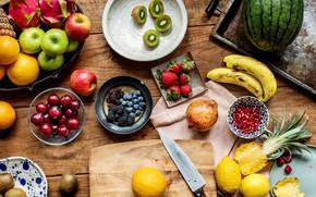 Picture berries, table, apples, watermelon, kiwi, strawberry, fruit, pineapple, banana, cherry, garnet