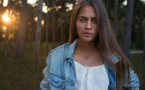 Picture look, trees, nature, model, portrait, makeup, hairstyle, brown hair, bokeh, dzhinsovka, Olya, Dmitry Sn, Dmitry …