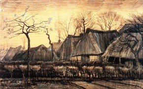Picture hut, Vincent van Gogh, Thatched Roofs, Houses with
