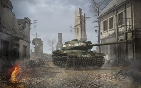 Picture war, home, devastation, ruins, The is-2, heavy tank