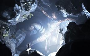 Picture girl, light, rendering, cross, cave, lara croft, tomb raider, grave
