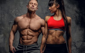 Picture look, pose, figure, pair, fitness, two, muscle, muscle, muscles, press, athlete, workout, fitness, abs, bodybuilder
