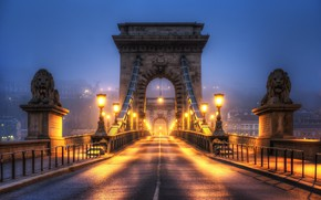 Wallpaper lions, bridge, arch, lights, night