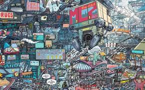 Picture Figure, The city, City, Art, Fiction, Future, Judge Dredd, Cyberpunk, by Ulises Farinas, Lineart, Ulises …