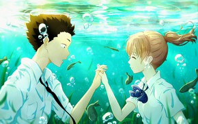 Picture girl, fish, romance, Anime, guy, under water, 2016, You no Katachi, A Silent Voice, Form …