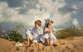 Picture sand, summer, the sky, clouds, nature, children, vegetation, boy, shell, girl, book, Dmitry Usanin