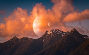 Picture forest, the sky, space, clouds, sunset, mountains, rendering, fiction, the moon, tops, planet, the approach