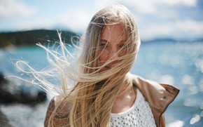 Picture sea, girl, the wind, hair