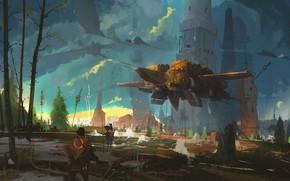 Picture fantasy, tower, trees, nature, spaceship, men, artist, artwork, concept art, fantasy art, Ismail Inceoglu