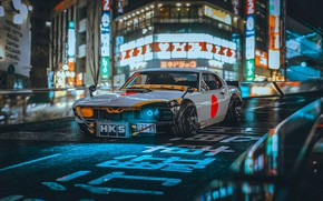 Picture Mustang, Auto, The city, Japan, Retro, Machine, Tuning, City, Car, Ford Mustang, Night, Rendering, Concept ...