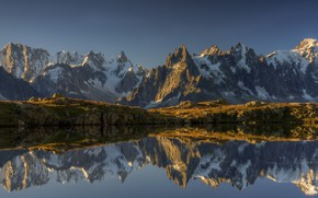 Picture the sky, snow, mountains, nature, lake, rocks, France, pond, French Alps, Cheserey lake
