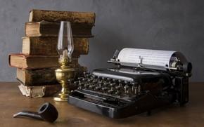 Picture books, tube, typewriter