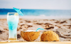 Picture sand, sea, beach, summer, stay, coconut, cocktail, summer, beach, vacation, sand, fruit, drink, coconut, vacation, …