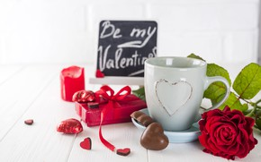 Picture flowers, gift box, red, flowers, bouquet, gift, red, hearts, hearts, chocolate, roses, romantic, valentine's day, …