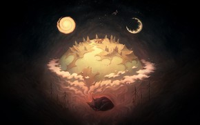 Picture Night, Figure, The moon, Planet, Fox, Background, Art, Dream, A month, by Moa Wallin, Moa …