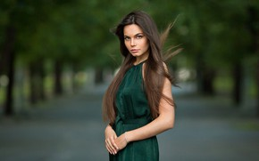 Picture look, girl, Park, photo, hair, brunette, beauty, bokeh, Fedorenko Anton