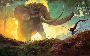 Picture nature, elephant, fantasy, painting