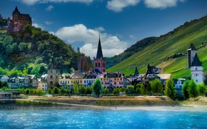 Picture landscape, nature, the city, river, hills, home, Germany, valley, forest, Rhine, Bacharach