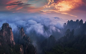 Picture forest, the sky, clouds, mountains, fog, rocks, morning, China