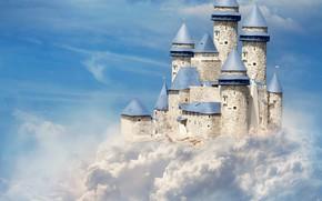 Picture the sky, clouds, castle, art