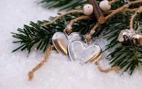 Picture winter, holiday, heart, Christmas, hearts, New year, needles, Christmas decorations, Christmas decorations, новогодние декорации