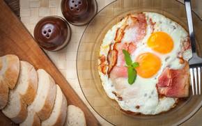 Picture eggs, plate, bread, scrambled eggs, bacon