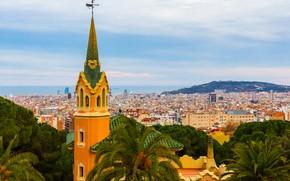 Picture sea, the sky, clouds, trees, palm trees, coast, tower, home, horizon, panorama, Spain, Barcelona