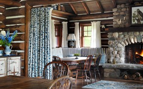 Picture retro, interior, fireplace, dining room, country house, Tapawingo Lake Camp