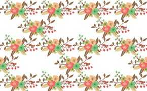 Picture flowers, texture, white background, design, pattern, Floral