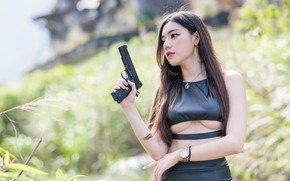 Picture girl, gun, Asian