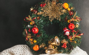 Picture decoration, toys, Christmas, New year, wreath, decoration