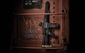 Picture metal, design, weapons, background, assault rifle