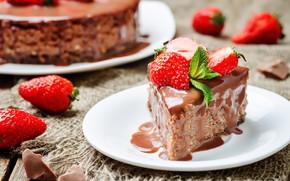 Picture chocolate, strawberry, cake, treat, piece
