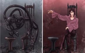 Picture monster, undead, alter ego, gloomy atmosphere, by Yuusuke Kozaki, Tatsumi Saiga, Speed Grapher, Скоростной графер